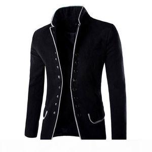 Wholesale- 2016 New Men Jacket High Quality Fashion Stand Collar Wool Mens Blazer Coat Slim Fit Cotton Terno Masculino 13M0603