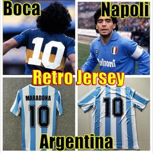 Maradona Soccer Jerseys Retro Version 86 78 1978 1986 Argentine Maillots de football Vintage 1981 81 Boca Juniors 1987 1988 Napoli 87 88 maillot