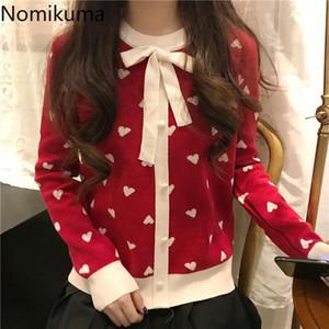 Nomikuma coréen amour coeur femme pull bowknot col o-cou pull à manches longues tricotwear 2020 automne hiver doux tricoté top 6D493