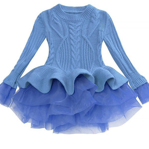 Bibihou Girl Winter Dress 2017 Fashion Spring Autumn Princess Girl Long Sleeve Sweater Tutu Dress Kid Christmas Dresses For Girl Y190515