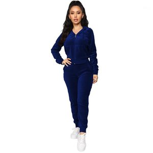 Spring Autumn Women Velvet Tracksuit Set Casual Long Sleeve Hooded Crop Jacket and Skinny Sweatpants 2 Piece Sets Womens Outfits1