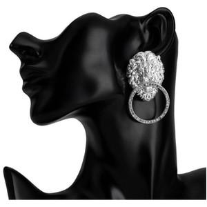 Bling Bling Rhinestone Lion Head Earring Women Animal Lion Head Statement Earring Gold Silver Fashion J sqcZTx beauty888