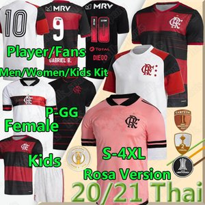 4XL 2020 2021 Camisa Flamengo Soccer Jerseys Rosa Fans Player Version Gabriel B.Henrique de Arrascaeta Hommes Femmes Kids Chemise de football