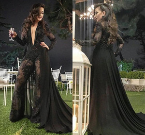 Sexy Black Jumpsuits Evening Dresses With Detachable Train 2021 Arabic Plunging V Neck Lace Appliqued Beaded Pants Formal Party Gowns AL7778