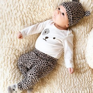 New Fashion Baby Girls Boys Clothes Newborn Toddler Leopard Clothing Set For Baby Long Sleeve T Shirt+Pants+Hat 3pcs suit Y200803