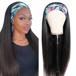 Nadula halbe perücke menschliche haare mit stirnband brasilianer gerade stirnbandperücke menschliches haar schwarz mode geradlinig haar schal spitzeperücke