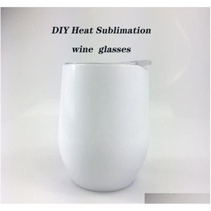 Diy Heat Sublimation 12Oz Wine Tumbler Stainless Steel Wine Glasses Egg Cups Stemless Wine Glasses With Lid Shipping Kbrr1