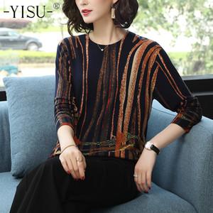 Yisu Women 2020 Fashion Primavera Autunno Autunno Scolli caldi Maglione Stripe stampato maglia maglioni femmina