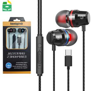 USB Type-C Наушники Stereo Bass Наушники с микрофоном Тип C-гарнитура USB-C Earbuds для Xiaomi Mi 9 10 Huawei P40 Mate 40 Pro