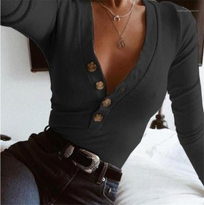 Color Womens Sweaters Casual V Neck Designer Slim Tops with Button Womens Long Sleeve Fashion Soild