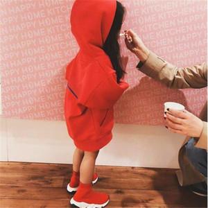 Bebek Tasarımcısı Giyim Çocuk Moda Hoodies Mektuplar Ile Baskılı Yeni Varış Uzun Kollu Pamuk Kapüşonlu Tişörtü Erkek Kız Giysileri