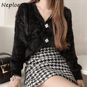 Neploe V-neck Chic Exquisite Button Sweaters Women Elegant Temperament Waterproof Mink Jacket Autumn Winter Warm Cardigans