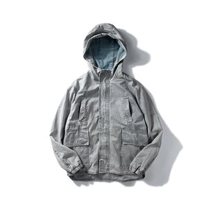 Vintage Hooded Denim Jakets Homens Moda Mola Multi-bolso Hip Hop Zipper Jeans Jaqueta Streetwear Outono Outerwear DS50412