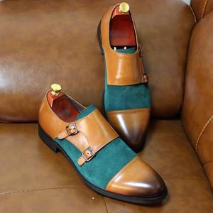 Luxo Monk Ремни для мужчин Двойные пряжки Натуральная Кожа Замшевые Базовые Свадебные Платье Мужской Бизнес Коричневые Зеленые Обувь