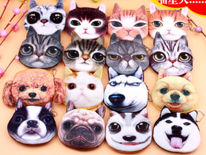 3D Cat Dog Face Plush Coin Borst Borsa Borsa Cute Puppy Pug Head Cerniera Chiusura Portafoglio Cartoon Animal Bag Pendants Charm