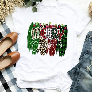 Women Striped Light Leopard Plaid Clothing Holiday Merry Christmas Clothes Ladies Graphic Print Tee Top Tshirt Female T shirt