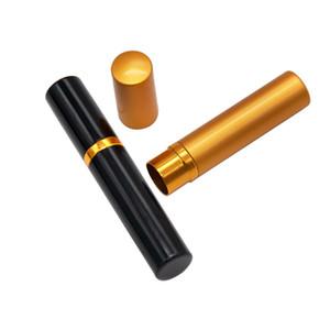 Mini cigarro caso tabaco áspero armazenamento tanque de metal fumo tubulação casos moda batom styling estilizar caixa 5ml ouro preto frete grátis