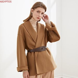 Aigyptos color sólido túnica estilo cinturón doble cara lana abrigo mujer ropa 2020 invierno1