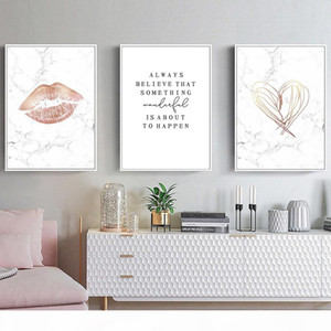 Sexy Lip Marble Believe Quotes Fashion Wall Art Canvas Painting Nordic Posters And Prints Wall Pictures For Living Room Decor