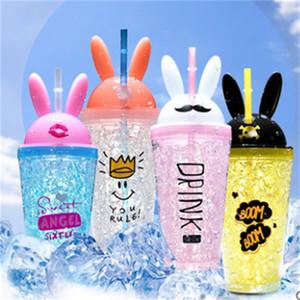 Grand oreille de lapin Coupe de glace écrasée Cooling Double tasse de tasse de paille mignonne couvercle portable garçons et filles boissons 26 k2