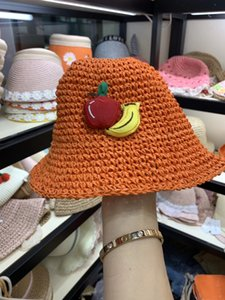 Korean style Sun Fruit summer candy color baby sunshade holiday children's sunscreen straw hat fruit series Children's straw hat fashion Gwl