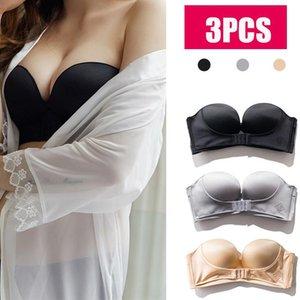 3PCS Women Strapless Bra Front Buckle Push Up Bra Lingerie Backless Brassiere Seamless Female Underwear Bralette Women Underwear