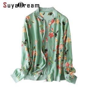 SUYADREAM Женщины Шелковые Куртки 100% Шелковый Цветочный Распечатать Толстируты на молнии Весна Летнее Воесть LJ201014