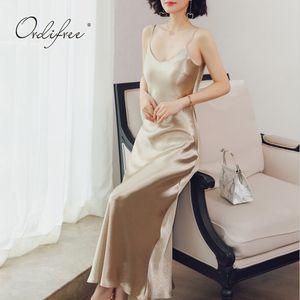 Ordufree 2020 Yaz Kadın Uzun Saten Elbise Şarap Kırmızı Vintage Seksi Maxi Parti Elbise Ipek Kayma Elbise Artı Boyutu Y0118