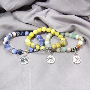 Pierre naturelle à la main Lotus ohm Bouddha perles Bracelet 19cm Pink Zebra Stone Lotus Bracelets Bracelets Bracelets pour Femmes Hommes Yoga Bijoux Cadeaux