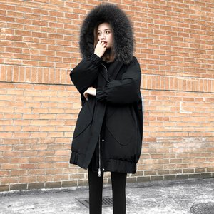 Winter High Quality Coat 2020 Long Slim Solid Color Female Jackets Zip Fur Collar Women Down Jacket