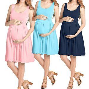 Maternity Clothes Women Dresses Photography Clothing Skirt Round Neck Slim Fit Sleeveless Vest Stretch Women Pregnant Dress