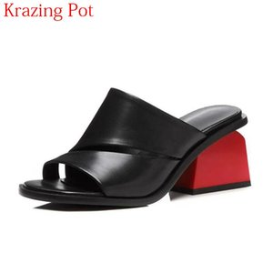 2020 Fashion Large Size Genuine Leather Mixed Colors Summer Shoes Round Peep Toe Mules Med Heels Slingbacks Women Sandals L07