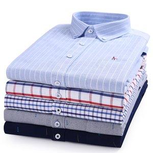 Reserva Aramy Top Algodão Qualidade Nova Listrado Lattice Mens Camiseta Aramy Camisa Oxford Bordado Homens Camisas LJ200928