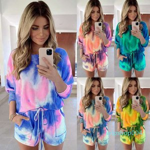 Women two piece outfits set casual Tracksuit Tie-dye Short sleeve T-Shirt biker Shorts Suits sportswear plus size clothing S-5XL