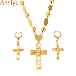 Anniyo Cross Pendant Earings Balls Bead Chain Necklaces for Women Micronesia Pohnpei Marshall Chuuk Jewelry Sets #159206 Z1201