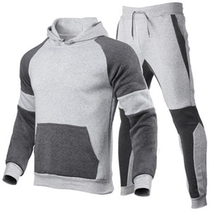 Mens Splicing Sports 2Pcs Sets Fashion Trend Long Sleeve Hooded Sweatshirt Pant Suits Designer Man Thicken Plus Size Casual Loose Tracksuits