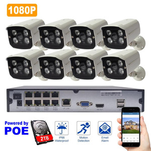 8ch CCTV Camera System+2TB HDD 1080P Outdoor IP Camera POE NVR Kit Waterproof Surveillance Security System IR Night Vision