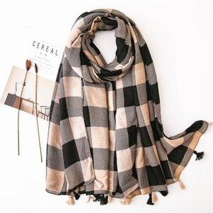 Yitao 006 novo outono inverno mulheres casuais cashmere lenços scarf senhoras borla tassel tail algodão poncho xaile wraps