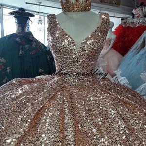 Rose Pink Gold Sequined Quinceanera Party Dresses Sweet 16 Dress Ruffles Skirt vestidos de 15 años New 2021