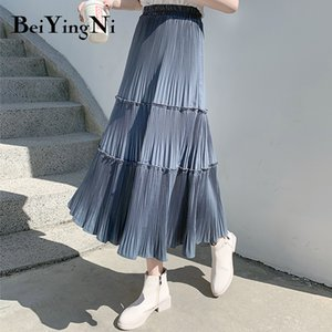 Beiyingni Pleated Skirt Women Vintage Casual Chiffon Shift Long High Waist Skirts Womens Patchwork Midi Saia Black White Faldas Q1116
