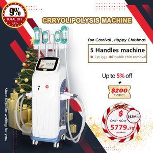 Cryolipolysis de 360 graus 5 alças gordos congelando Cryolipolysis Slimming Machine Double Chin Remoção Weigt Equipamento de perda