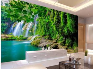 Fondo de agua de agua de flujo de agua verde Fondo de TV Fondo de pared 3D Paisaje de fondo