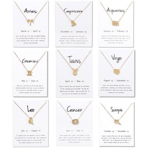 Fashion 12 Constellation Necklace Pendant Aries Pisces Aquarius Taurus Leo Birthday Gifts 2020 Necklaces White Message Card