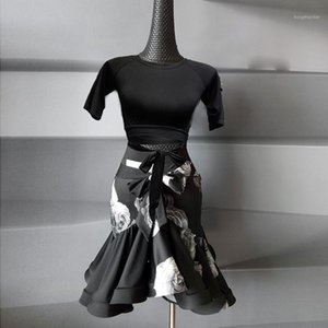 Costume de danse latin original original pour femmes Lady Black Flower jupe Sexy Standard Standard Standard Salsa Dance Costume1