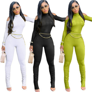 Solid Color Sexy Womens Rompers Turtle Neck Strapless Long Sleeve Slim Pleated Jumpsuits OL Style Fashion Women Designer Clothing