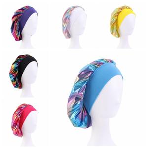 Night Sleeping Turban Hat headwrap Bonnet chemo cap Muslim Women Wide Stretch Silk Satin Breathable Bandana Hair Accessories BWA2673
