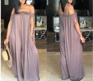 New Fashion 2020 Casual Beach Style Women Jumpsuit Solid Slash Neck Sleeveless Long Loose Romper Plus Size 3XL