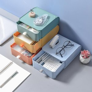 New Creative Drawer Desk Sundries Storage Boxes Desktop Makeup Cosmetic Tools Organizer Stationery Pen Pencil Holder DHC5550