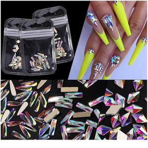 20pcs Nail Art Rhinestones Holo Flat Shaped Elongated Teardrop Rectangle Colorful Stones For 3d Nails Decoration 1 jlliIi