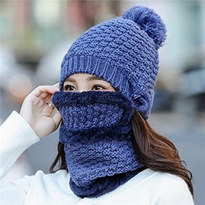 3pcs Women Warm Set Knitted Beanies Hat Neck Scarf Face Mask Button Solid Color Pompom Warm Skullies Hat Outdoor Windpoof Suit